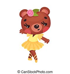 Smiling Bear in Ballerina Dress and Rose Flower on Head Dancing Vector Illustration