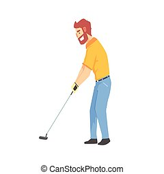Smiling bearded cartoon golf palyer character hitting the ball vector Illustration