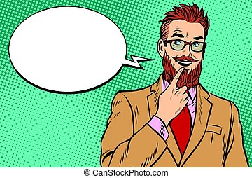 bearded hipster businessman was up to something, a finger to her