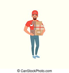 Smiling bearded man delivering packages. Delivery service concept. Cartoon courier character wearing in red t-shirt, cap and blue jeans. Flat vector design