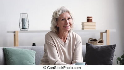 Smiling beautiful middle aged 60s grey-haired woman holding cup of hot tea or morning coffee, looking at camera. Portrait of happy dreamy mature senior feeling satisfaction of retirement life at home.