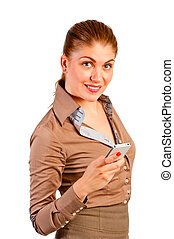 Smiling beautiful businesswoman with phone
