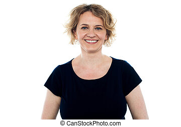 Smiling beautiful casual middle aged woman