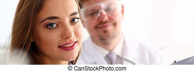 Smiling beautiful technician woman portrait