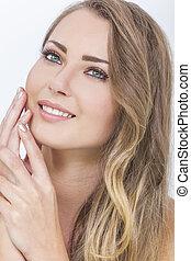 Smiling Beautiful Woman & Hands