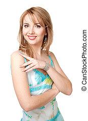 smiling beautiful woman in blue dress