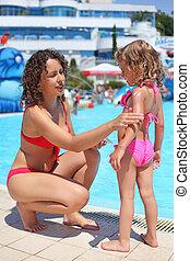 Smiling beautiful woman smears with cream for sunburn little girl near pool in aquapark