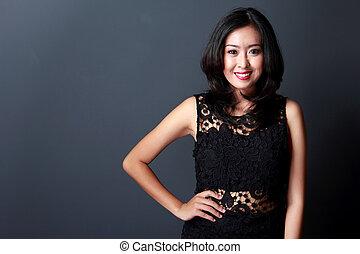 beautiful woman wearing black dress