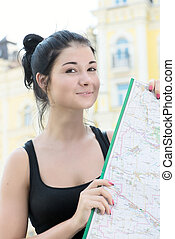 woman with map in hands