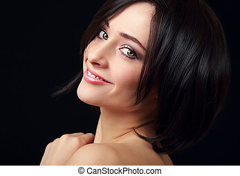 Smiling beautiful woman with perfect makeup and black hair