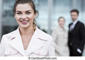 Smiling beauty businesswoman
