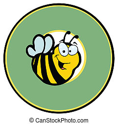 Smiling Bee Over A Green Circle - Cartoon Logo Mascot-Bee In...
