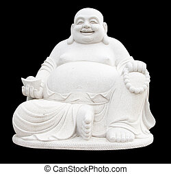 Smiling Big Buddha Statue isolated With clipping path