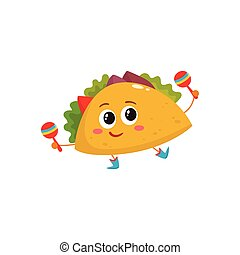 Smiling big eyed burrito dancing and playing Mexican maracas...