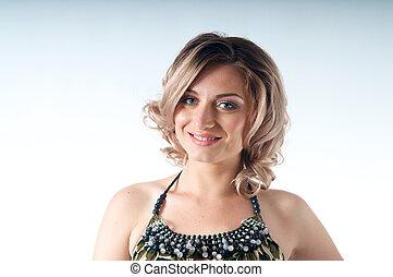 Smiling Blond Caucasian Woman