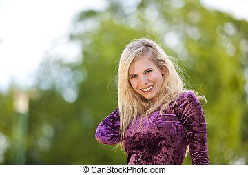 smiling blond fashion model
