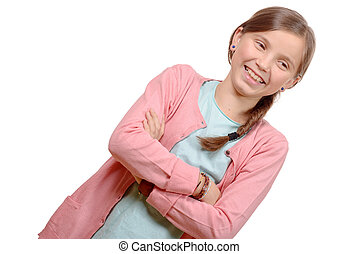 Smiling blond girl with braid. Girl eleven years old