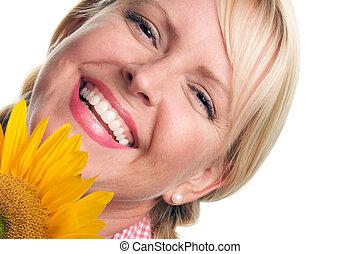 Smiling Blond & Sunflower