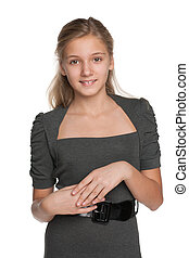 Smiling blond teen girl
