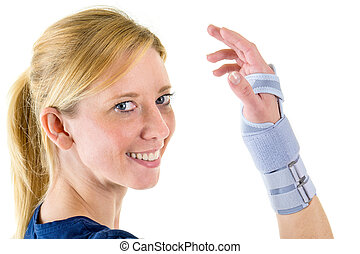 Smiling Blond Woman Wearing Supportive Wrist Brace