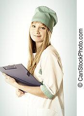 Smiling blonde doctor with folder