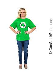 Smiling blonde environmental activist posing on white ...