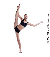 Smiling blonde posing doing vertical split
