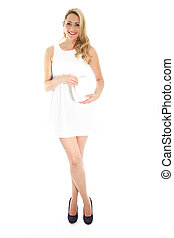 Smiling Blonde Woman in White Dress