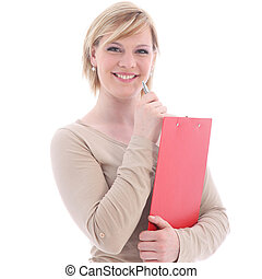 Smiling blonde woman with red folder