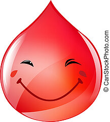 Blood Drop - Smiling Blood Drop, Isolated On White...