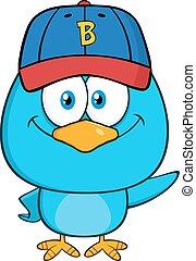 Smiling Blue Bird Character