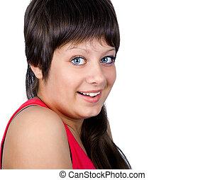 Smiling blue-eyed girl on a white background. portrait