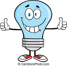 Smiling Blue Light Bulb Cartoon Character Giving A Double...