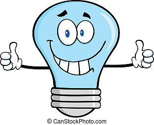 Smiling Blue Light Bulb Character