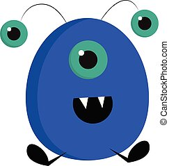 Smiling blue ovak monster with three eyes vector illustration on white background.