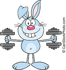 Smiling Blue Rabbit With Dumbbells