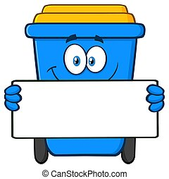 Smiling Blue Recycle Bin Cartoon Mascot Character Holding A Blank Sign