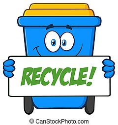 Smiling Blue Recycle Bin Cartoon Mascot Character Holding A Recycle Sign
