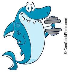 Smiling Blue Shark With Dumbbells