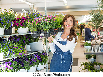 Smiling Botanist Carrying Crate Full Of Flower Plants In Shop