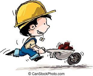 Smiling Boy Constructor - Cartoon illustration of a boy in...
