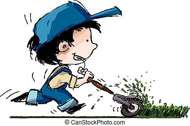 Cartoon illustration of a boy in suspenders and a baseball cup running with a lawn mower