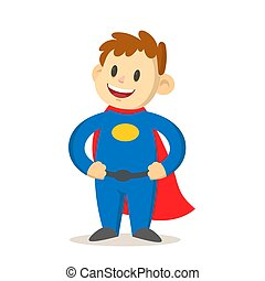 Smiling boy dressed as a caped superhero, cartoon character. Flat vector illustration, isolated on white background.