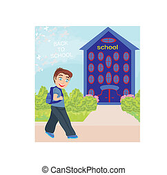 smiling boy going to school