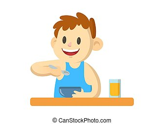 Smiling boy having a meal, cartoon character. Flat vector illustration, isolated on white background.