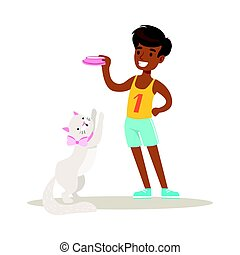 Smiling boy holding a bowl with milk to feed his white cat. Colorful cartoon character vector Illustration