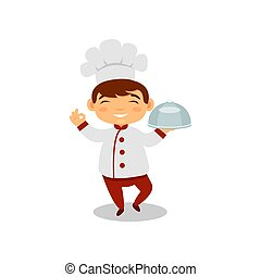 Smiling boy holding dish in hand. Cute kid in chef uniform and hat. Little cook. Future job. Flat vector design