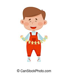 Smiling Boy Holding Made from Paper Shaped Garland Vector Illustration