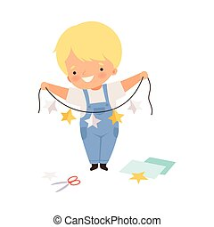 Smiling Boy Holding Made from Paper Star Garland Vector Illustration