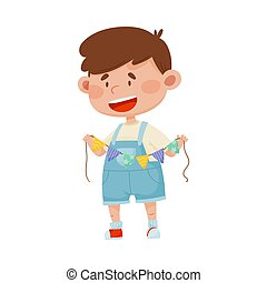 Smiling Boy Holding Made from Paper Triangle Garland Vector Illustration